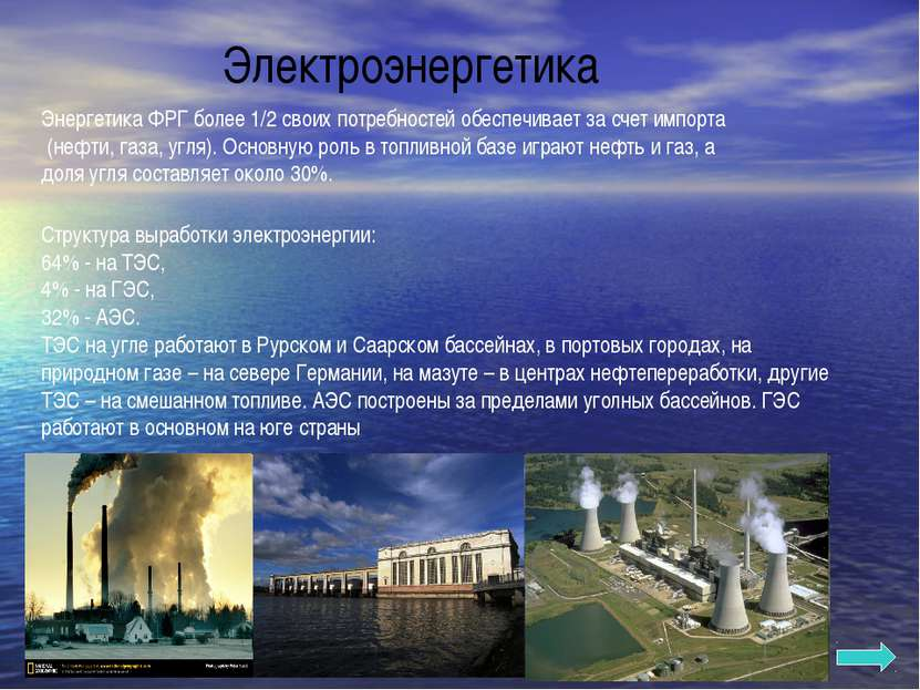 Электроэнергетика Структура выработки электроэнергии: 64% - на ТЭС, 4% - на Г...