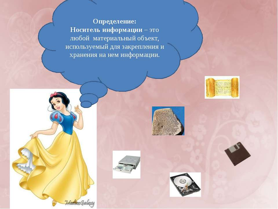 Определение: Носитель информации – это любой материальный объект, используемы...