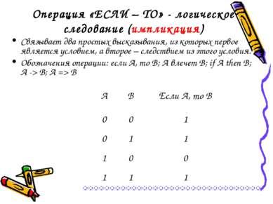 Операция «ЕСЛИ – ТО» - логическое следование (импликация) Связывает два прост...