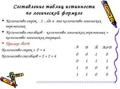 Составление таблиц истинности по логической формуле Количество строк - 2ⁿ, гд...