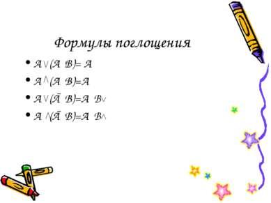 Формулы поглощения А (А В)= А А (А В)=А А (Ā В)=А В А (Ā В)=А В