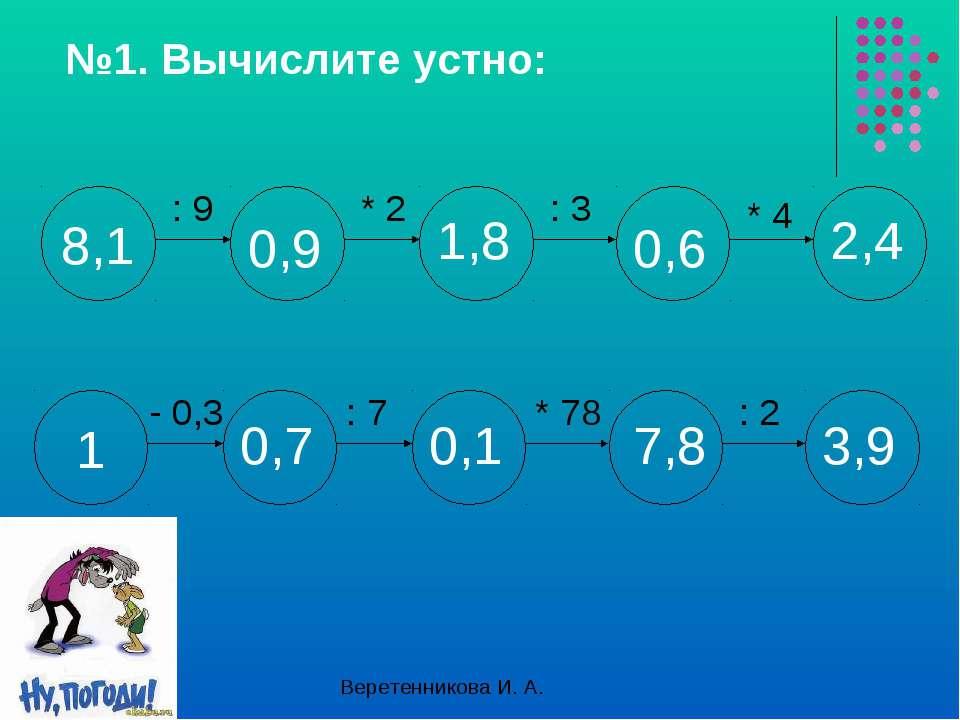 №1. Вычислите устно: : 9 * 2 : 3 * 4 - 0,3 : 7 * 78 : 2 0,9 1,8 0,6 2,4 0,7 0...