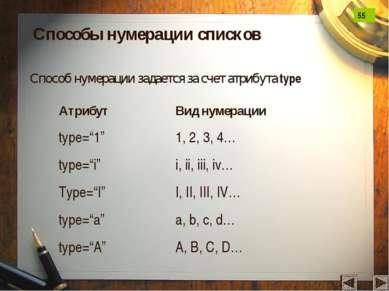 Способы нумерации списков Способ нумерации задается за счет атрибута type Атр...