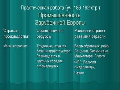 Промышленность Зарубежной Европы Практическая работа (уч. 186-192 стр.)