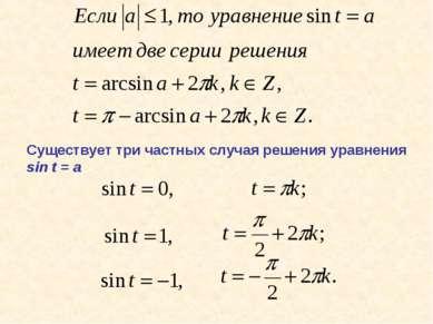 Существует три частных случая решения уравнения sin t = a