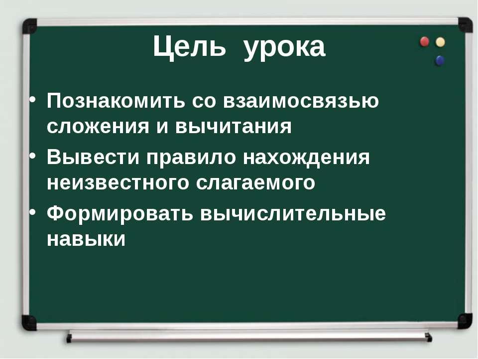 Цель урока Познакомить со взаимосвязью сложения и вычитания Вывести правило н...