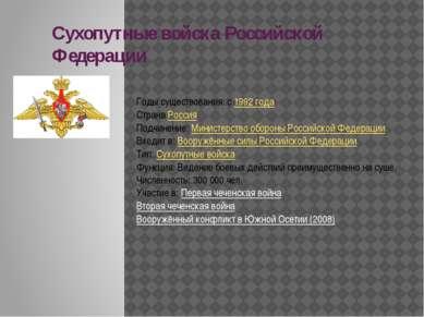 Сухопутные войска Российской Федерации Годы существования: с1992 года Страна...