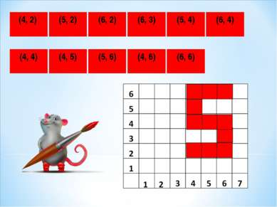 (4, 2) (4, 4) (5, 2) (6, 2) (6, 3) (6, 4) (5, 4) (4, 5) (4, 6) (5, 6) (6, 6)