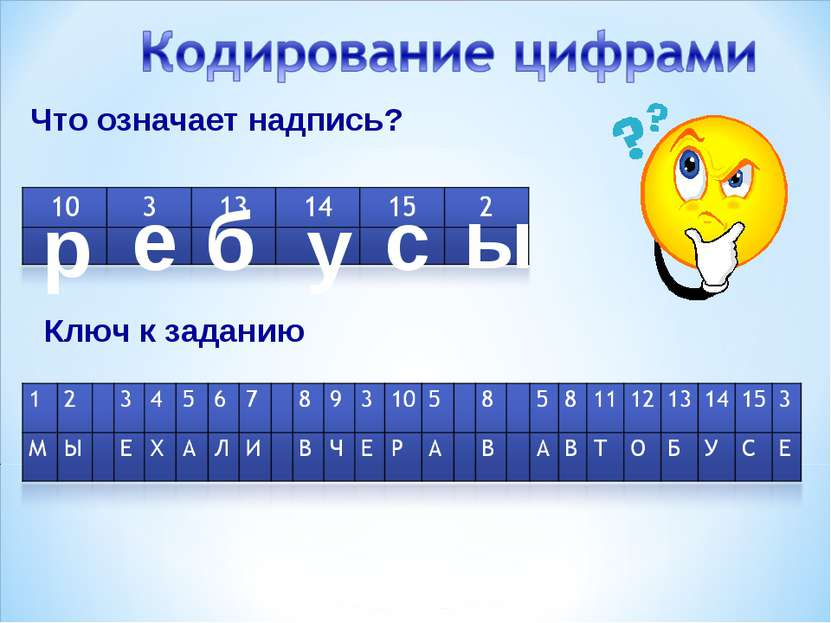 Что означает надпись? Ключ к заданию р б у с ы е