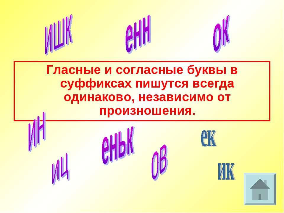 Гласные и согласные буквы в суффиксах пишутся всегда одинаково, независимо от...