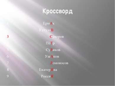 Кроссворд 1 ЕрмАк 2 КутузоВ 3 Суворов 4 ПёТр 5 СуРиков 6 УшАков 7 Ломоносов 8...