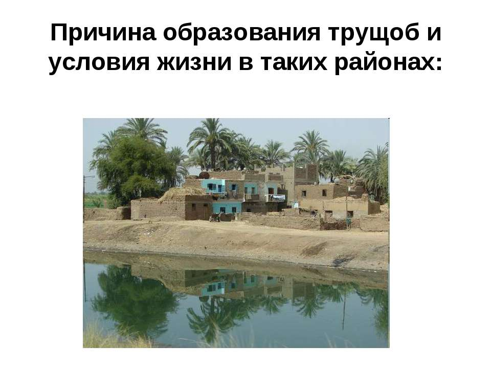 Причина образования трущоб и условия жизни в таких районах:
