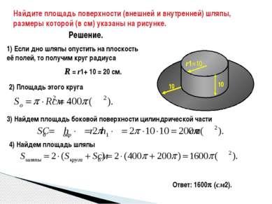 Найдите площадь поверхности (внешней и внутренней) шляпы, размеры которой (в ...