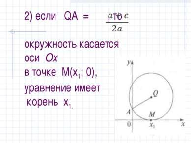 2) если QA = , то окружность касается оси Ох в точке М(х1; 0), уравнение имее...