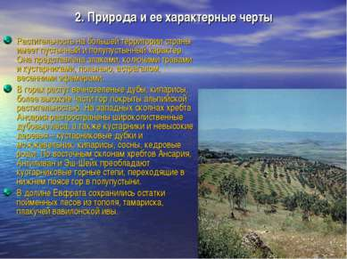 2. Природа и ее характерные черты Растительность на большей территории страны...
