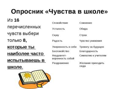 Опросник «Чувства в школе» Из 16 перечисленных чувств выбери только 8, которы...
