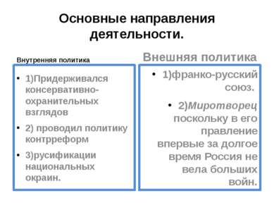 Основные направления деятельности. Внутренняя политика 1)Придерживался консер...
