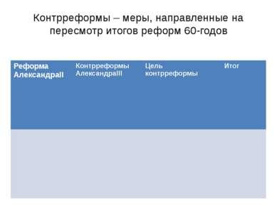 Контрреформы – меры, направленные на пересмотр итогов реформ 60-годов Реформа...