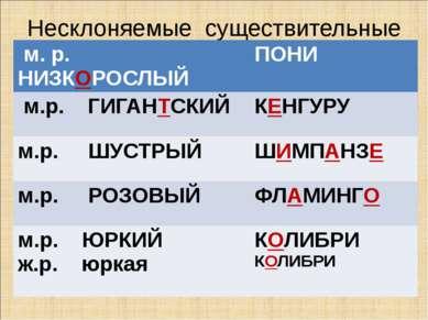 Несклоняемые существительные м. р. НИЗКОРОСЛЫЙ ПОНИ м.р. ГИГАНТСКИЙ КЕНГУРУ м...