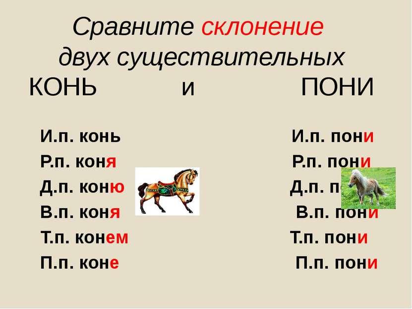 Сравните склонение двух существительных КОНЬ и ПОНИ И.п. конь И.п. пони Р.п. ...