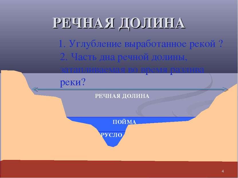 РЕЧНАЯ ДОЛИНА 1. Углубление выработанное рекой ? РУСЛО 2. Часть дна речной до...