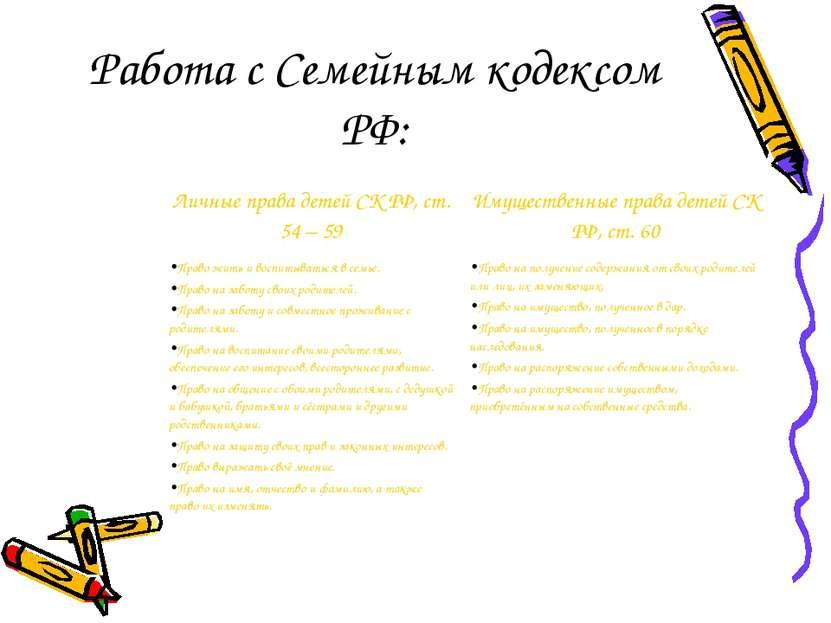Работа с Семейным кодексом РФ: Личные права детей СК РФ, ст. 54 – 59 Имуществ...