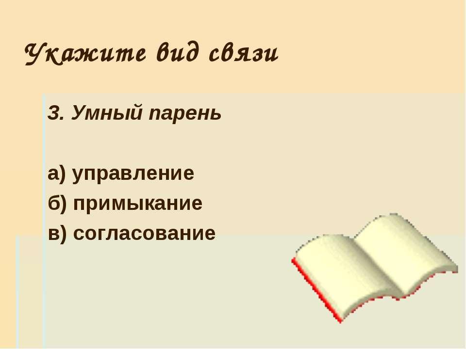 Укажите вид связи 3. Умный парень а) управление б) примыкание в) согласование
