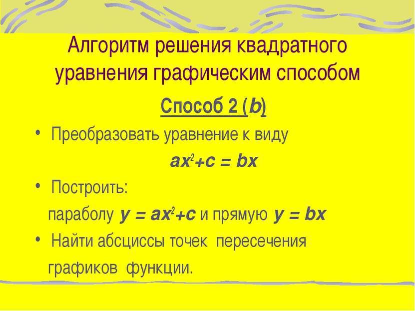 Алгоритм решения квадратного уравнения графическим способом Способ 2 (b) Прео...