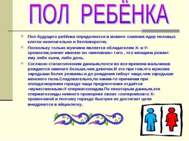 Пол будущего ребёнка определяется в момент слияния ядер половых клеток оконча...