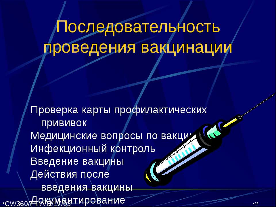 CW360/TTI/VE/LV/03/27/01 Последовательность проведения вакцинации Проверка ка...