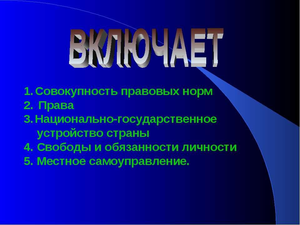 Совокупность правовых норм Права Национально-государственное устройство стран...