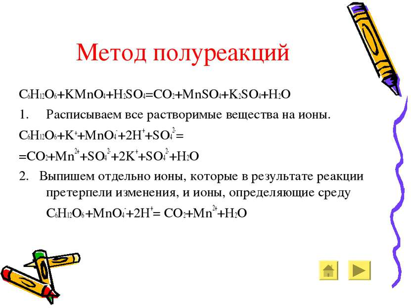 Метод полуреакций C6H12O6+KMnO4+H2SO4=CO2+MnSO4+K2SO4+H2O Расписываем все рас...