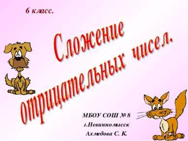 6 класс. МБОУ СОШ № 8 г.Невинномысск Ахмедова С. К.
