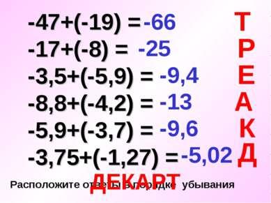 -47+(-19) = -17+(-8) = -3,5+(-5,9) = -8,8+(-4,2) = -5,9+(-3,7) = -3,75+(-1,27...