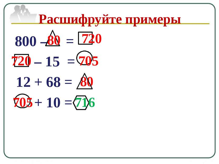 800 – = – 15 = 12 + 68 = + 10 = Расшифруйте примеры 80 80 720 720 705 705 716