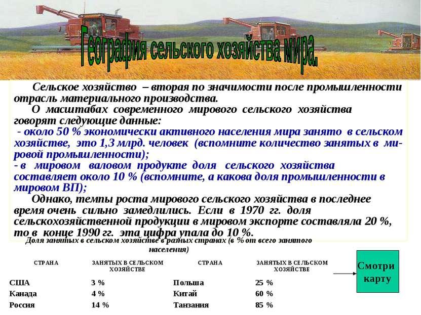 Сельское хозяйство – вторая по значимости после промышленности отрасль матери...