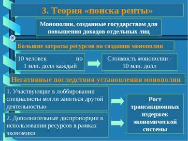 3. Теория «поиска ренты» Монополии, созданные государством для повышения дохо...