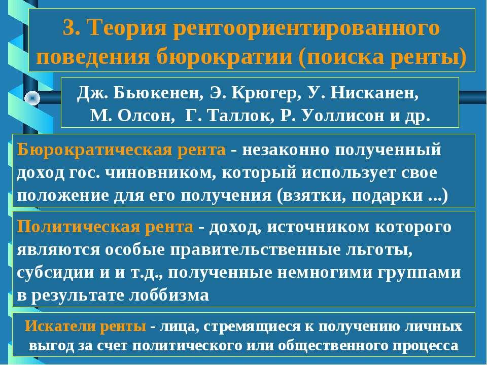 3. Теория рентоориентированного поведения бюрократии (поиска ренты) Дж. Бьюке...