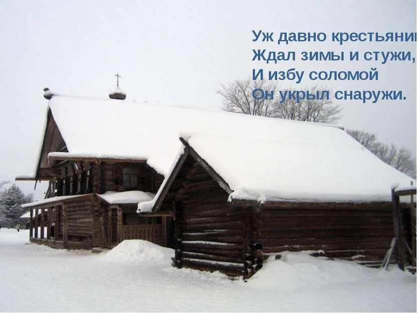 Уж давно крестьянин Ждал зимы и стужи, И избу соломой Он укрыл снаружи.