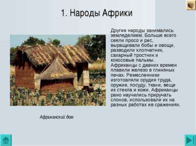 1. Народы Африки Другие народы занимались земледелием. Больше всего сеяли про...