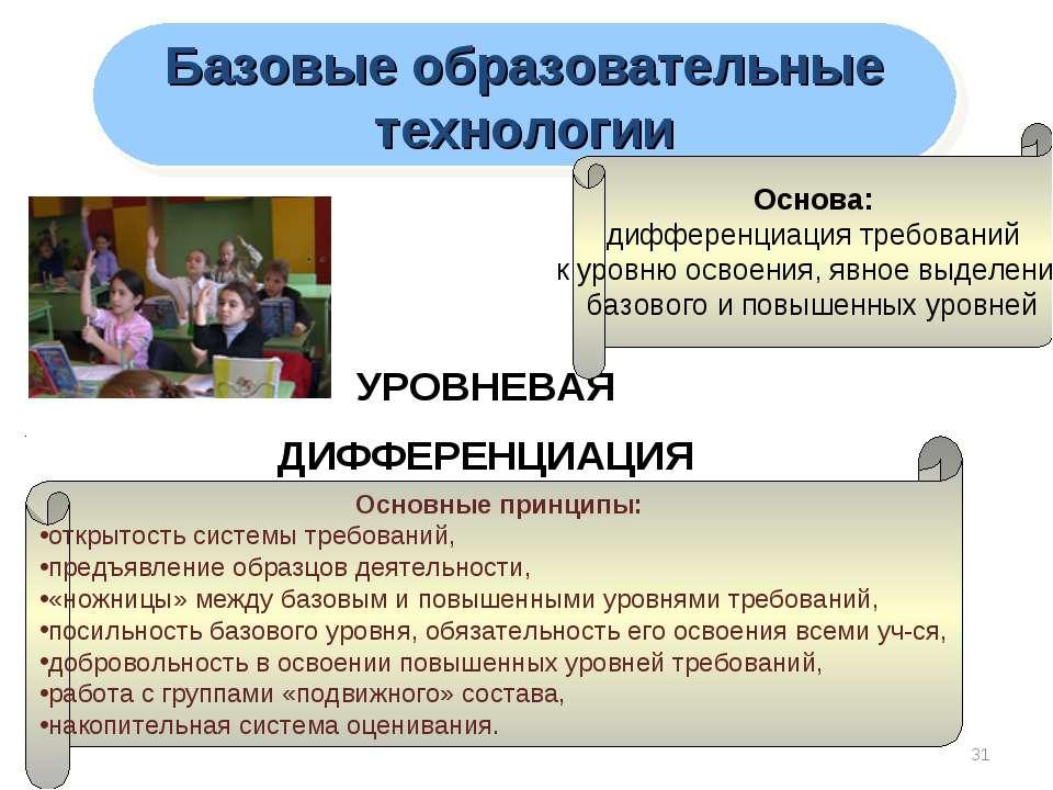 * УРОВНЕВАЯ ДИФФЕРЕНЦИАЦИЯ Базовые образовательные технологии Основные принци...