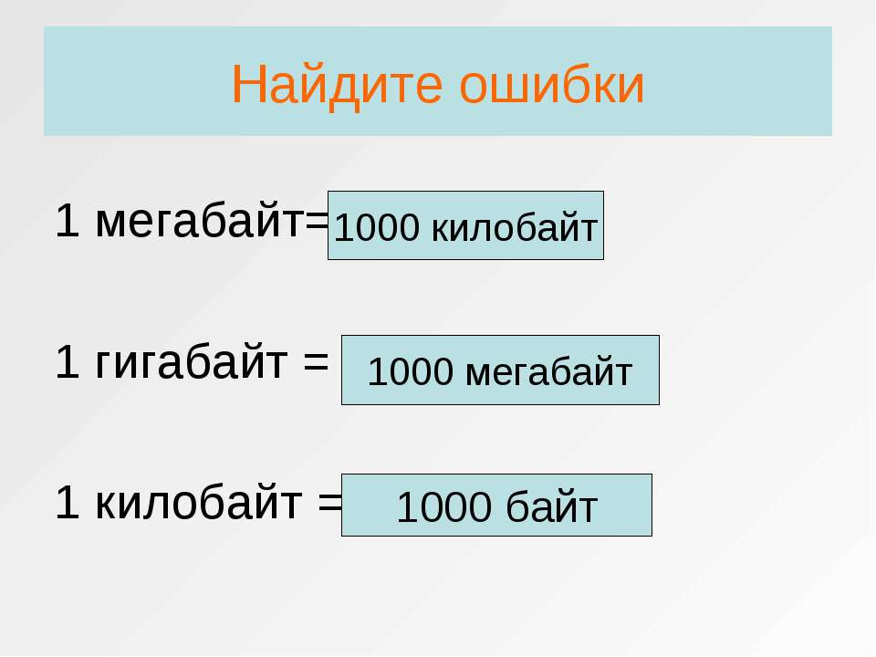 Найдите ошибки 1 мегабайт=2000 байт 1 гигабайт = 1000 байт 1 килобайт = 2 мег...