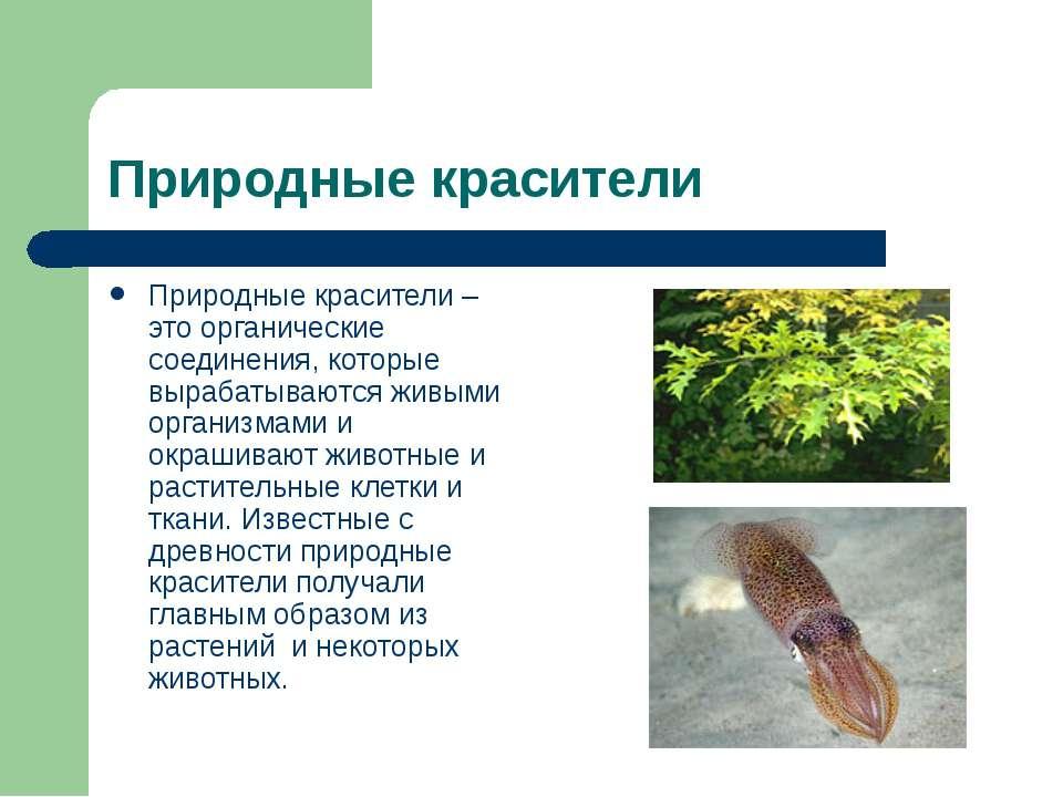 Природные красители Природные красители – это органические соединения, которы...