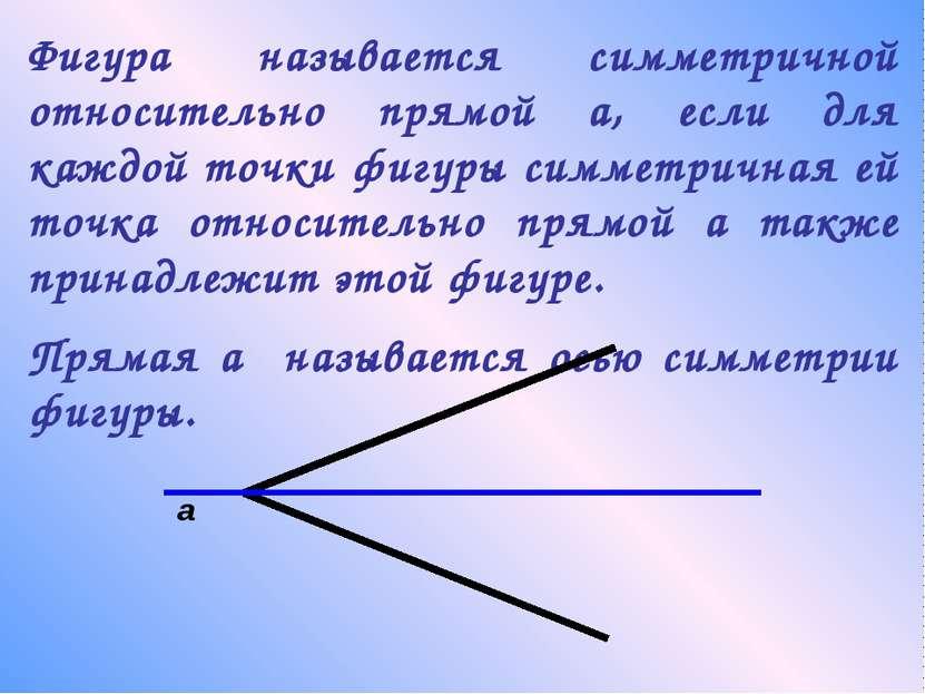 Фигура называется симметричной относительно прямой а, если для каждой точки ф...