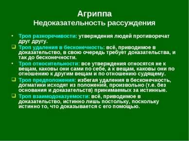 Агриппа Недоказательность рассуждения Троп разноречивости: утверждения людей ...