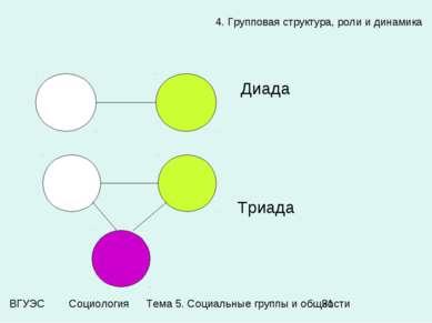 4. Групповая структура, роли и динамика Диада Триада Тема 5. Социальные групп...