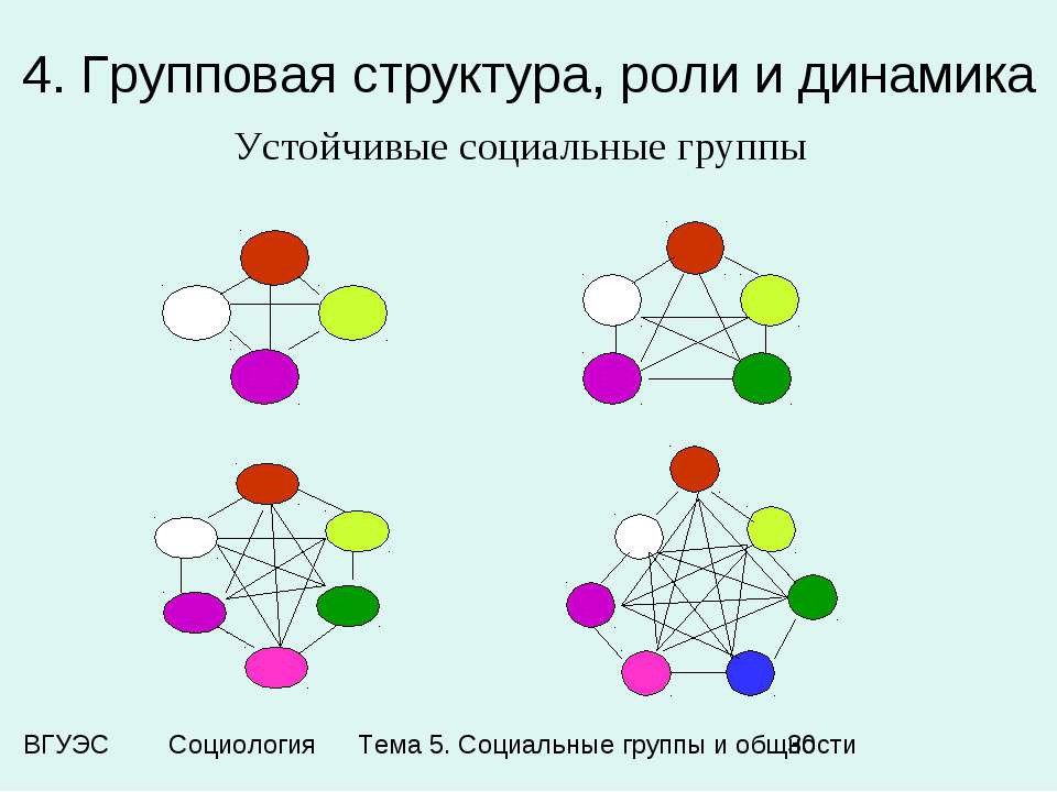 4. Групповая структура, роли и динамика Устойчивые социальные группы Тема 5. ...