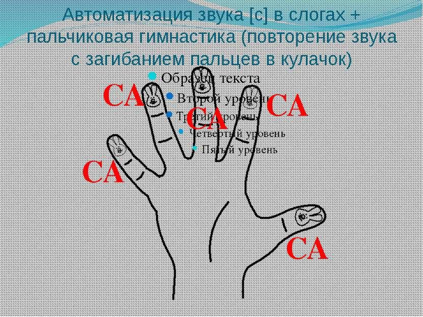 Автоматизация звука [с] в слогах + пальчиковая гимнастика (повторение звука с...