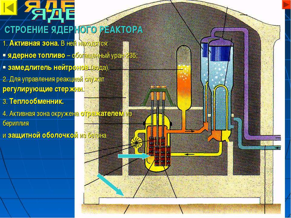 СТРОЕНИЕ ЯДЕРНОГО РЕАКТОРА 1. Активная зона. В ней находятся: ядерное топливо...