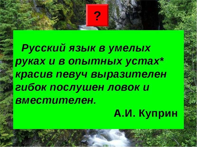 Русский язык в умелых руках и в опытных устах* красив певуч выразителен гибок...